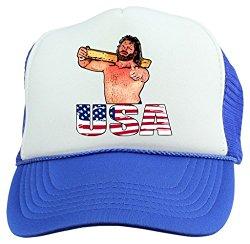 jim duggan hacksaw snapback trucker hat blue usa