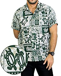 Classic Relaxed Fit Green T-Shirt Authentic Tropical Button Down