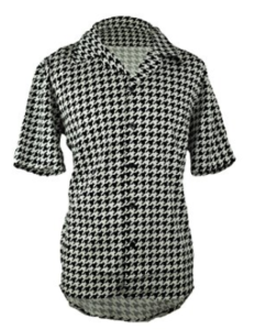 Short Sleeve Houndstooth Shirt -Black And White Lounge Style Comfortable Shirt