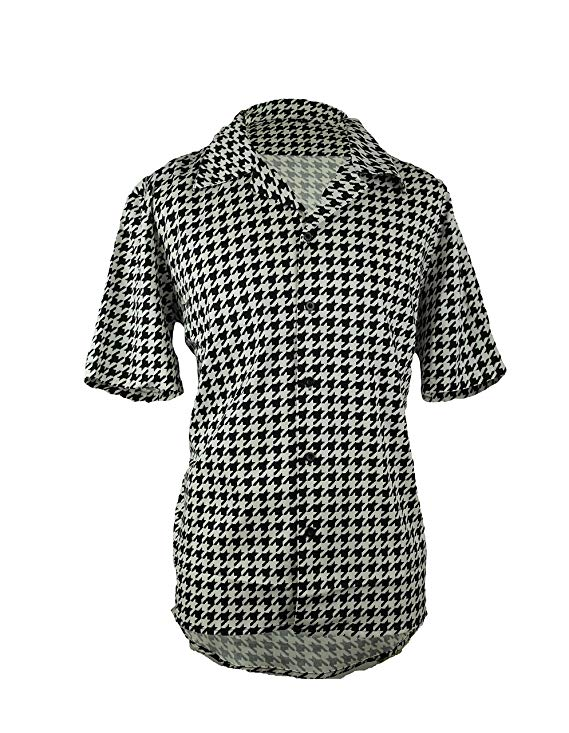 Ricky Houndstooth Black And White Lounge Shirt For Men -Short Sleeve
